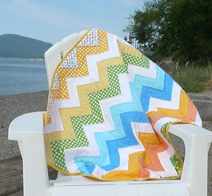 Multi-color Chevron Baby Quilt, Turquoise yellow white quilted, handmade toddler boy blanket, tummy time layette quilt, baby boy nursery by SewEverAfter on Etsy