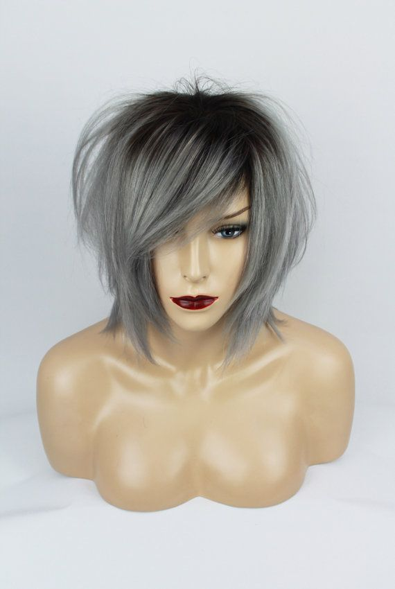 100% Human Hair Ombre Brown & Grey Uni-Sex Wig, One Size.