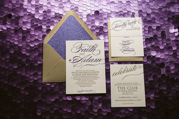 Metallic Gold & Purple Glitter Letterpress Wedding by JustInviteMe