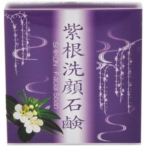 【紫根洗顔石鹸 泡立てネット付き】シコンエキスを配合した洗顔用石鹸です。女性の若々しいお肌を演出する成分として、大いに期待されています。泡立てネット付き。