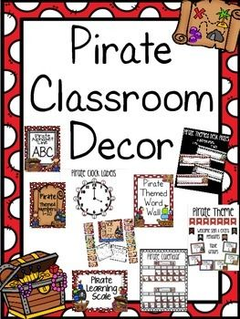 This pirate classroom decor pack has 9 files in a zip folder. You would be paying $21 if you bought each one separately. You are saving $6!What is included?1. Pirate Alphabet : Pirate themed alphabet with pictures for each letter. The vowels are all one color and then the consonants are another.2.