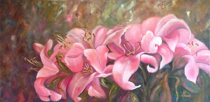 "Pink Flower Painting - Wall Flowers by Miranda Gerber, 46x901.5cm (19"" x 36"")  An original, unframed acrylic painting on gallery stretched canvas with deep sides. $250"