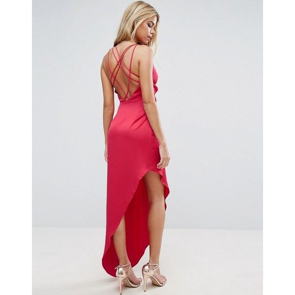 ASOS Strap Back Asymmetric Hem Maxi Dress (22.885 HUF) ❤ liked on Polyvore featuring dresses, red, plunge neck maxi dress, holiday party dresses, red maxi dress, red dress and tall maxi dresses
