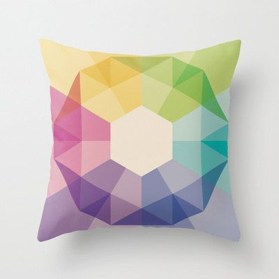18x18 Colorful Geometric Throw Pillow COVER by iamchristinabot, $23.00