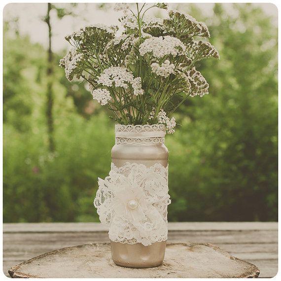 Lace glass jar. Wedding vase. Shimmer beige color. Centerpiece, home decor, showers.