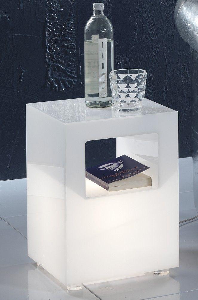 Tavolino luminoso Kenton in plexiglass bianco Tavolino da ...