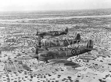 A formation of RAF Supermarine Spitfires on interception patrol over De Djerba Island, on their way to the Mareth Line area during operations in North Africa by Allied air forces, 1942. Pin by Paolo Marzioli
