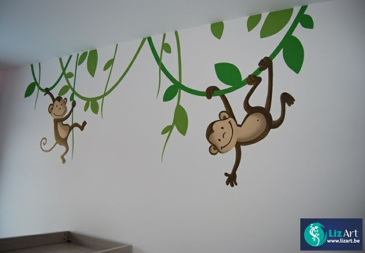 Muurschildering aapjes