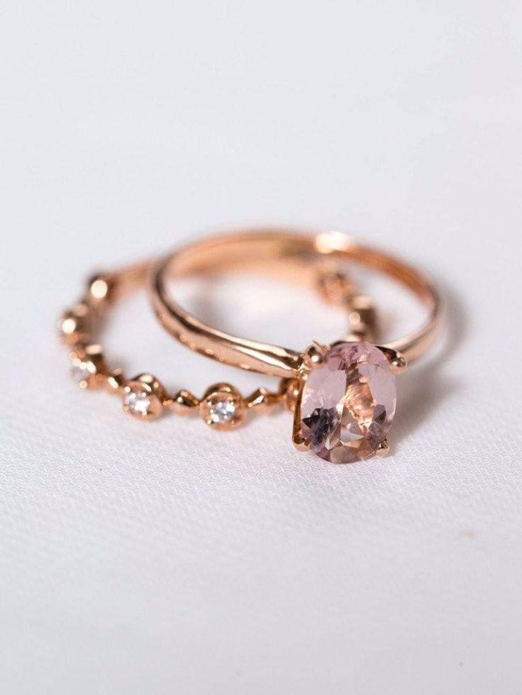 Morganite is perfect for a bride with attitude—diamonds are great, but this pink can't be beat. See more here: https://www.davieandchiyo.com/collections/lifestyle-rings/products/genevieve-ring