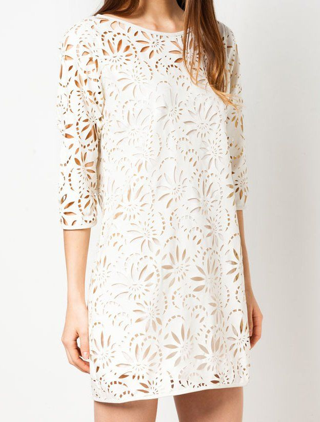 Laze Cut Shift Dress by ZALORA. White dress, with round neck, 3/4 sleeve, back zipper, cotton inner lining, relaxed fit. This flower cut out dress look so gorgeous, perfect dress for every occasion, pair it with heels or flat shoes for a casual and formal look. http://www.zocko.com/z/JHh31