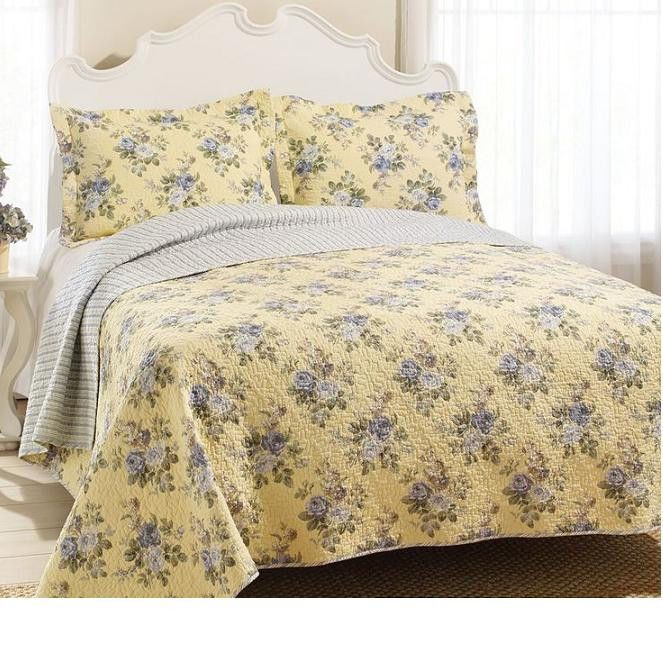 BEAUTIFUL YELLOW BLUE PURPLE ROSE FLORAL REVERSIBLE STRIPE COTTON QUILT SET SZS #quality #listed