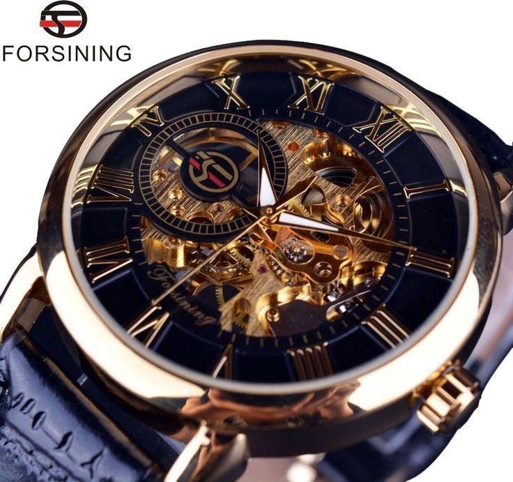 Mens Watch Forsining Mechanical Skeleton Engraving Luxury Wrist Stainless Steel #MensWatchChina #Luxury