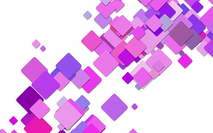 Download wallpapers purple abstraction, rectangles, rhombuses, squares, pink abstract background, geometry