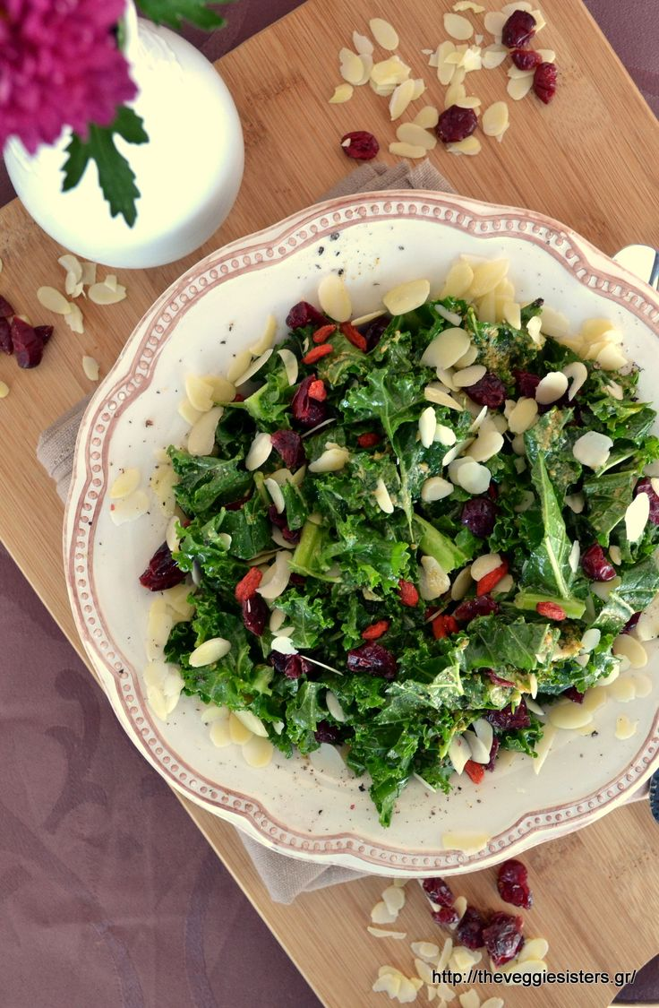 Super healthy kale salad with goji berries, cranberries and almonds!