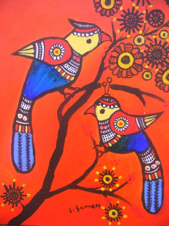 pair of birds authentic Indian folk art.bird by MadhubaniMotifs, $115.00