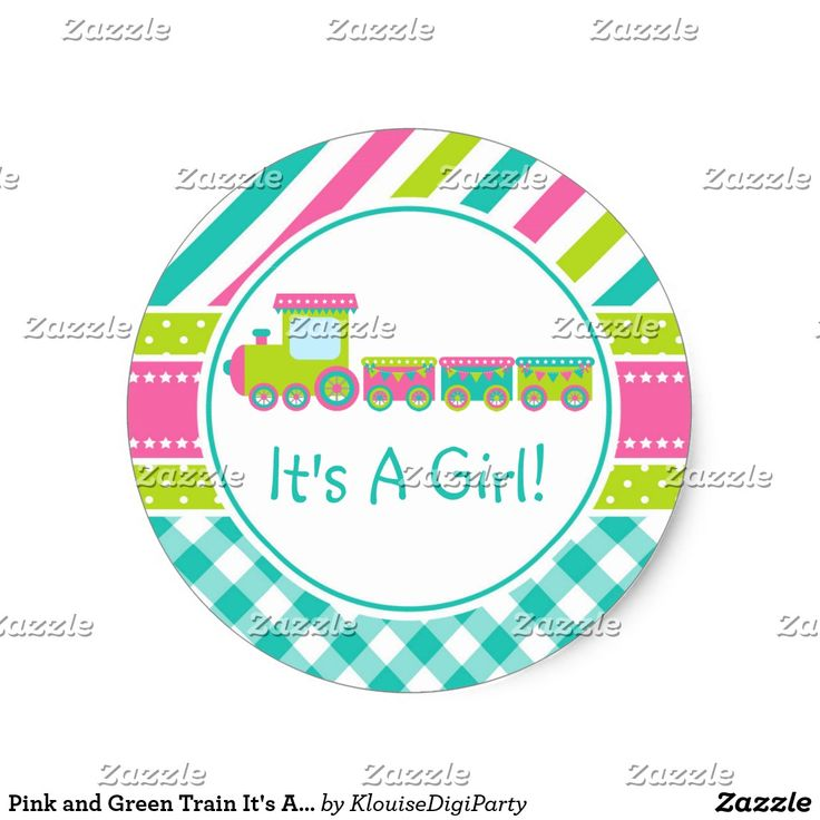 Pink and Green Train It's A Girl Classic Round Sticker