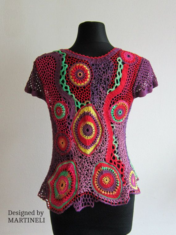 Loco irlandés Crochet ganchillo Freeform superior por MARTINELI