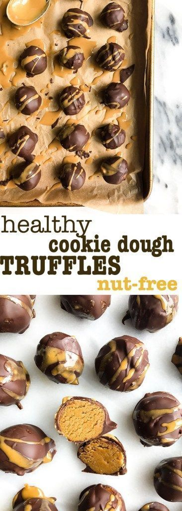Healthy Chocolate Cookie Dough Truffles. These gems are nut-free, vegan and grain-free. The most amazingly delicious truffle that is actually healthy and made with clean ingredients!