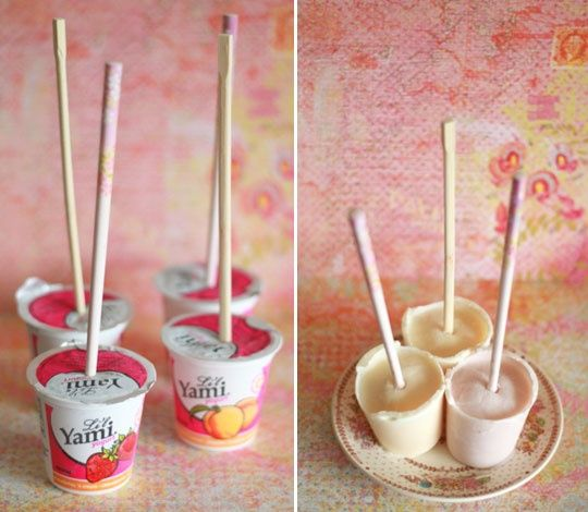 Easy way to make frozen yogourt pops. Love this idea..Treats, Ideas, Frozen Yogurt, Recipe, Food, Yogurt Popsicles, Ice Pop, Healthy Desserts, Frozen Yogourt