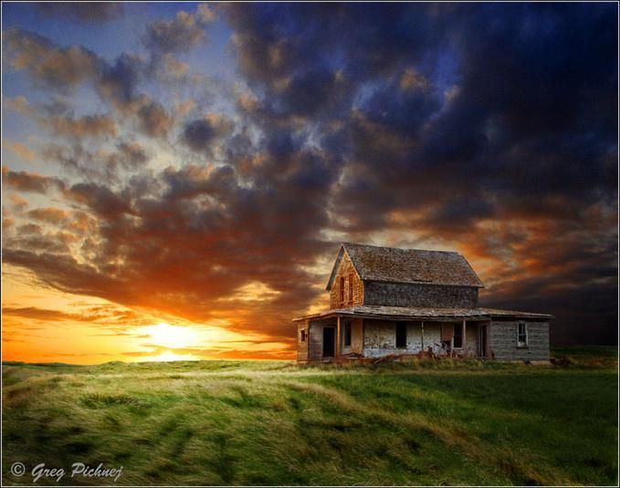 """Prairie Sky"""" Abandoned farm house off the Trans Canada highway between Moose Jaw and Regina,...  By: Greg Pichnej 