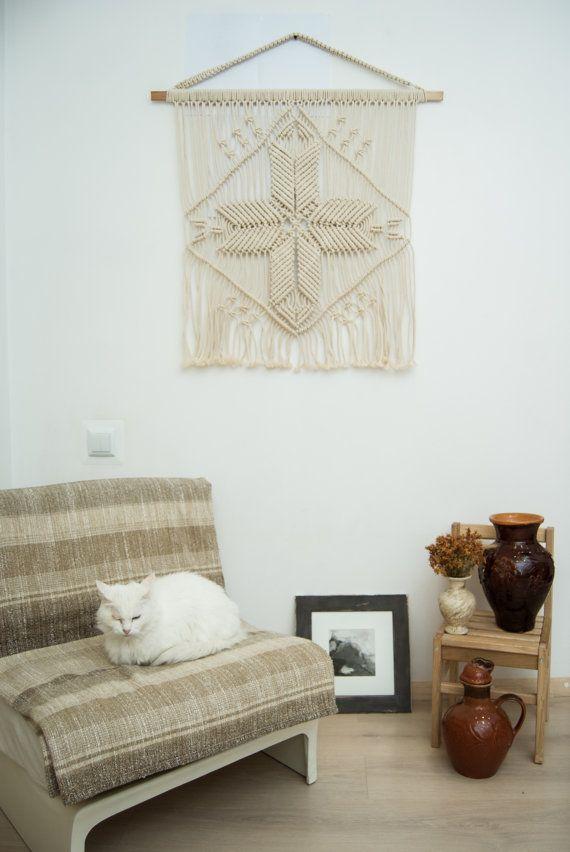 Macrame muur opknoping moeder ster, kunst aan de muur macrame, macrame opknoping, macrame wand decor, wit ivoor macrame kunst, bohemien slaapkamer inrichting