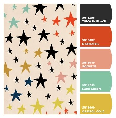 Fun stars happy palette scheme party fashion hipster kids fabric print quirky. pinks corals mustard yellows aquas black off-beat branding suite marketing logo contrasting colors. Scandinavian Swedish euro chic playroom cute ikea style Norway Finland minimalist Paint colors from #ChipIt by #SherwinWilliams #colorsnap