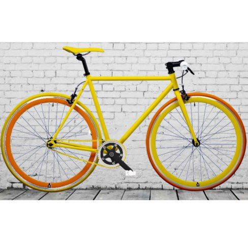 Yellow Commuter Road Bike w/Orange Accents
