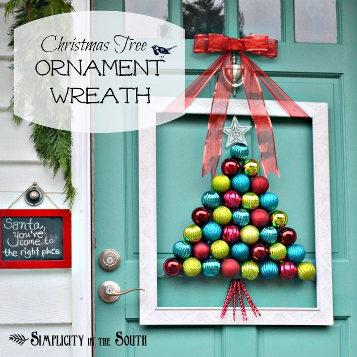 Framed Christmas Tree Ornament Wreath