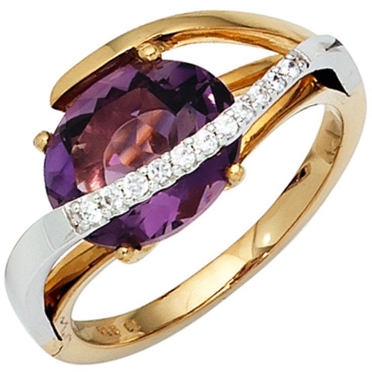 Damen Ring 585 Gold bicolor 11 Diamanten 1 Amethyst lila violett http://cgi.ebay.de/ws/eBayISAPI.dll?ViewItem&item=151963457300&ssPageName=STRK:MESE:IT