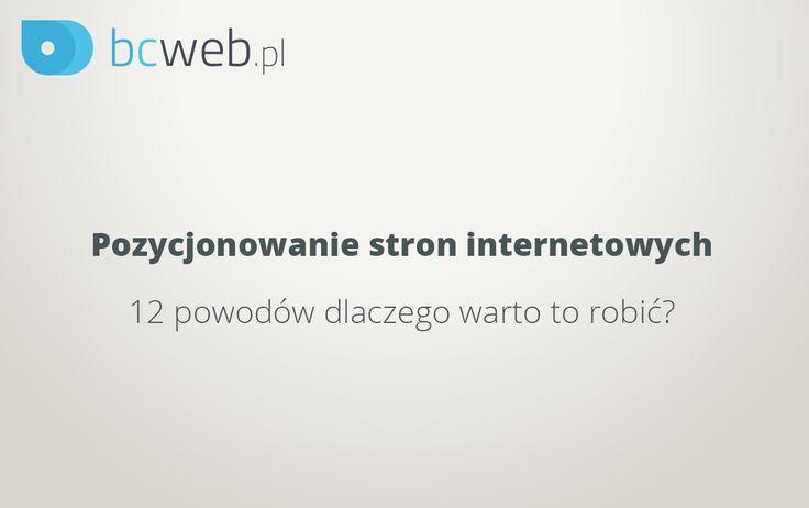 Pozycjonowanie stron internetowych - 12 powodów dlaczego warto to robić? Z tym zagadnieniem związany będzie prezent o którym już niebawem!  http://www.macmoney.pl/pozycjonowanie-stron-czyli-dlaczego-warto-promowac-witryne/
