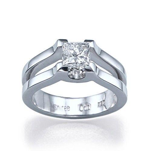 Luxor Unique Designer Natural Square Princess Cut Engagement Ring