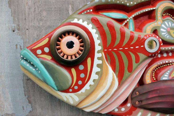 "27"" Colorful Folk Art Sunfish, Large fish wall art"