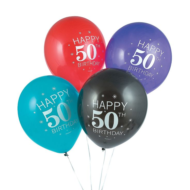 50th+Birthday+Celebration+12+Latex+Balloons+-+OrientalTrading.com