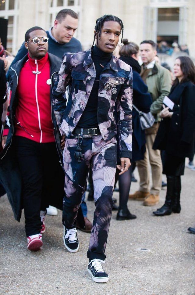 ASAP Rocky Wears Dior Homme Mosh Pit Jacket, Jeans, Sneakers at Fall/Winter 2017 Paris Show | UpscaleHype