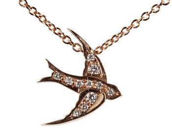 Rose Gold & Diamond Swallow Necklace