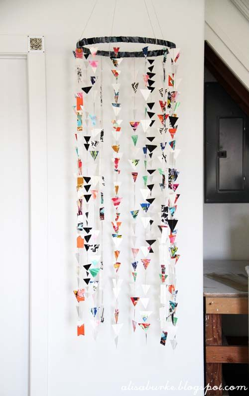 How to make a whimsical paper mobile... I would definitely use softer, more natural earth tone colors.