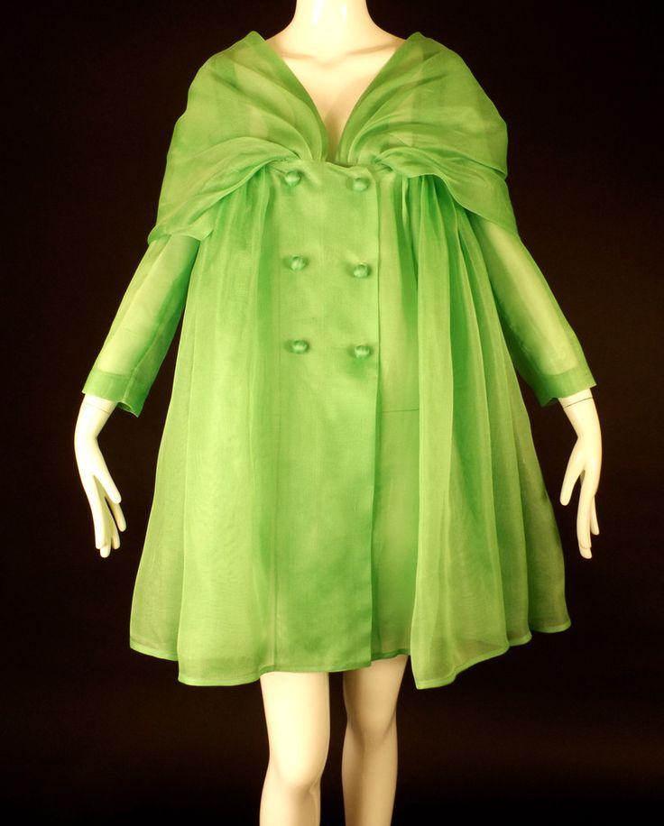 BALENCIAGA-1980s Green Silk Gazar Baby Doll Coat, Bust-34
