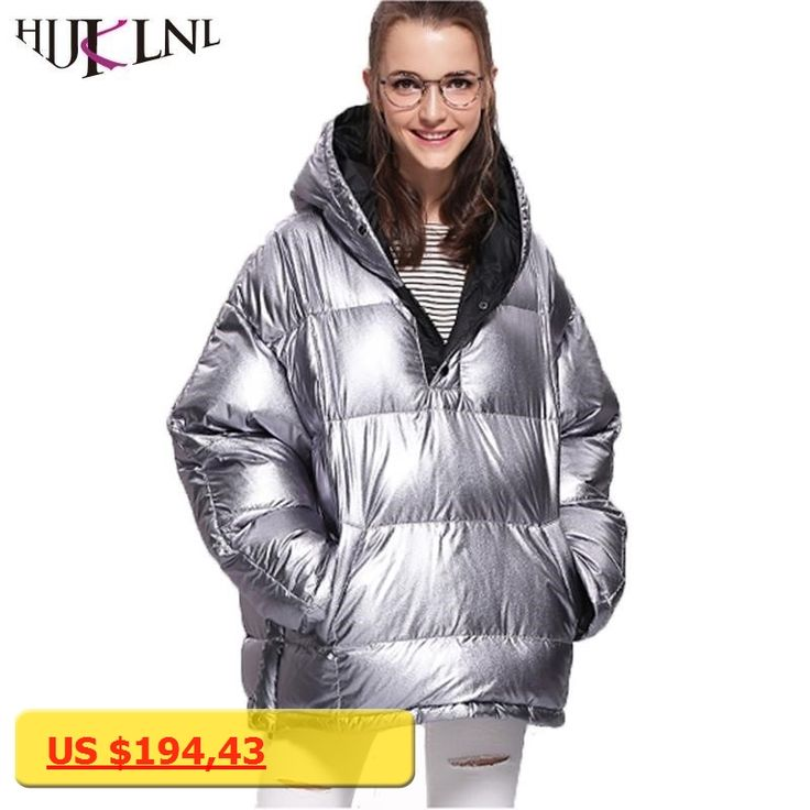 HIJKLNL daunenjacke damen Womens Down Coat Thick Winter Jacket Fashion Shiny Hooded Puffer Duck Down Jacket Parka Mujer QN693