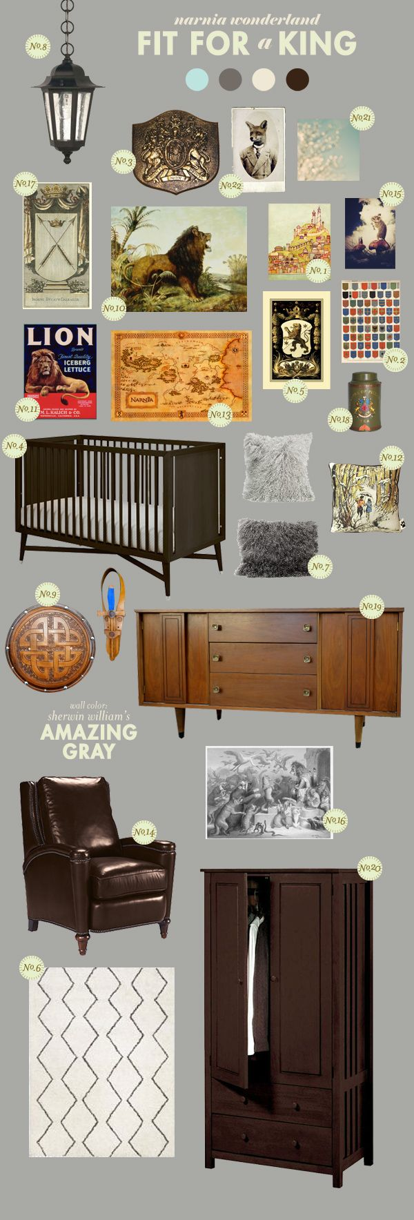 Fit for a King Nursery Inspiration Board - riffs off of the Chronicles of Narnia without being too literal. Fun!