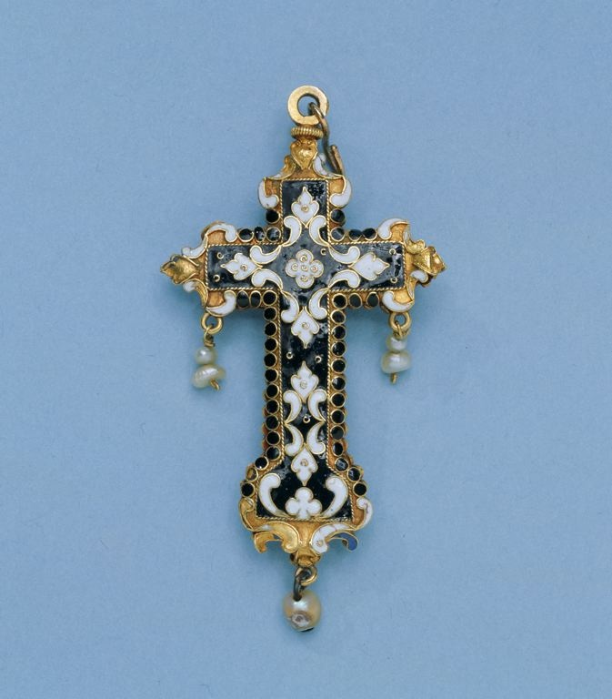 Spanish        Cross Pendant, early 17th century              Gold, enamels, rock crystal, and pearls