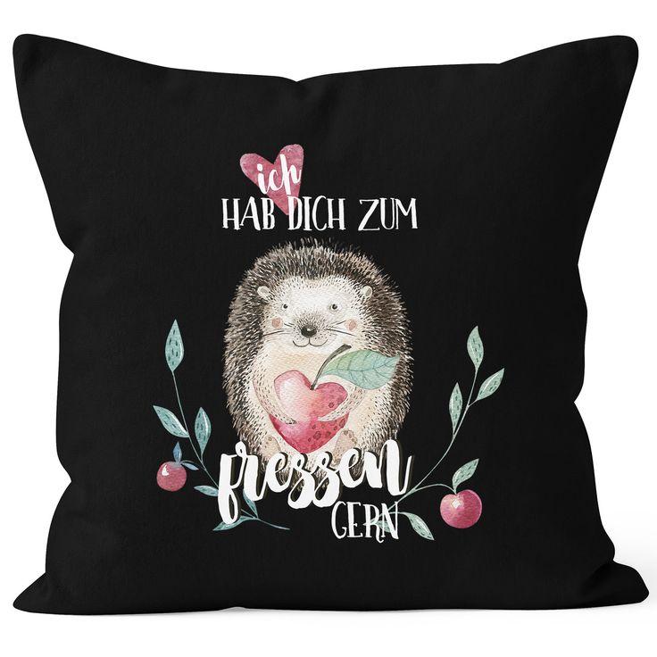 Kissenbezug Ich hab dich zum fressen gern Watercolor Igel Liebe Spruch Geschenk Love Quote 40x40 Baumwolle MoonWorks®