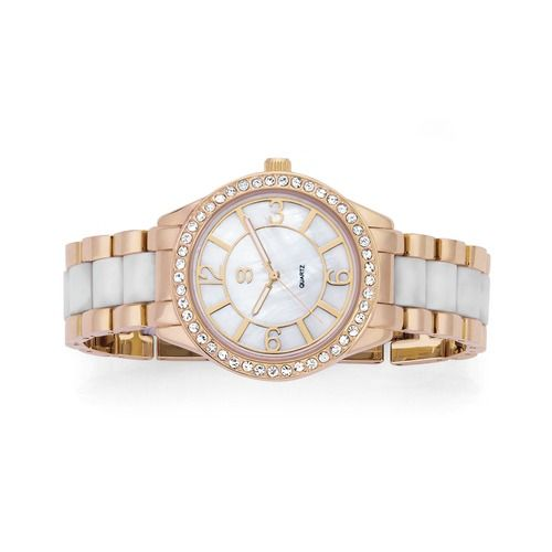 G Ladies Rose Tone Stone Mother of Pearl Dial White Link Bracelet Watch