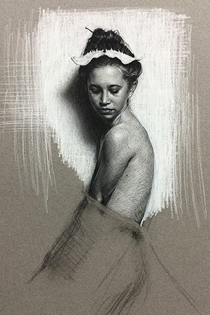 Victor Grasso, female portrait with profile torso figure drawing. <3