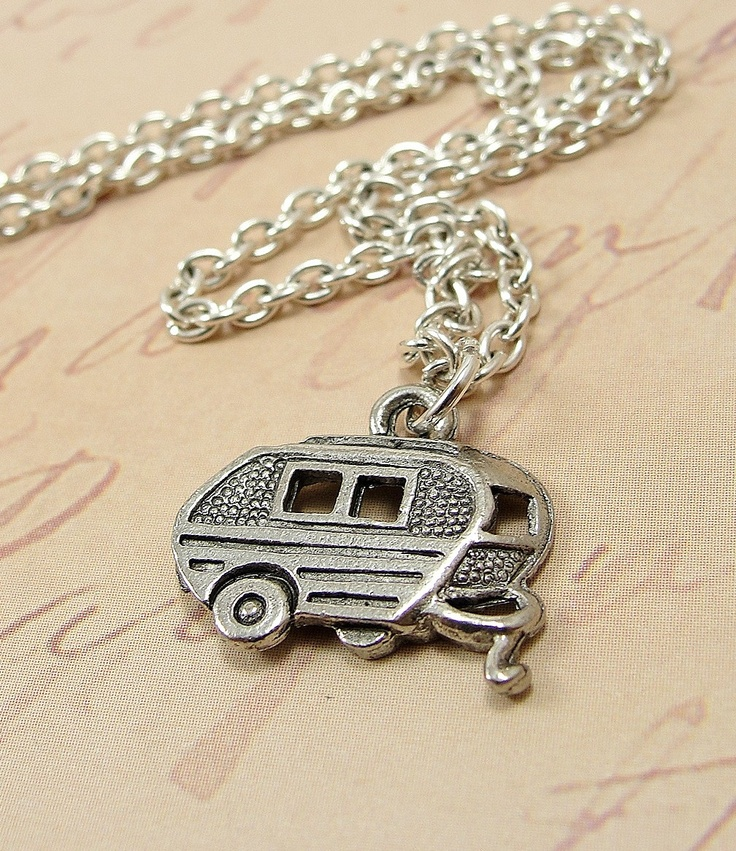 Camper RV Necklace - Silver Plated Charm on a 17 inch Cable Chain. What a beauty!