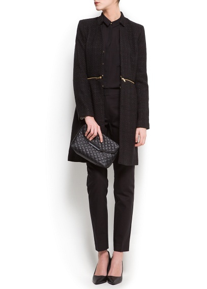 Manteau bouclé zippé