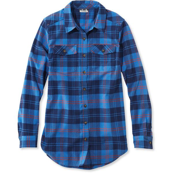 L.L.Bean Whisper Lodge Flannel Tunic (3,880 INR) ❤ liked on Polyvore featuring tops, tunics, fitted tops, plaid top, flannel top, blue tunic and stretch top