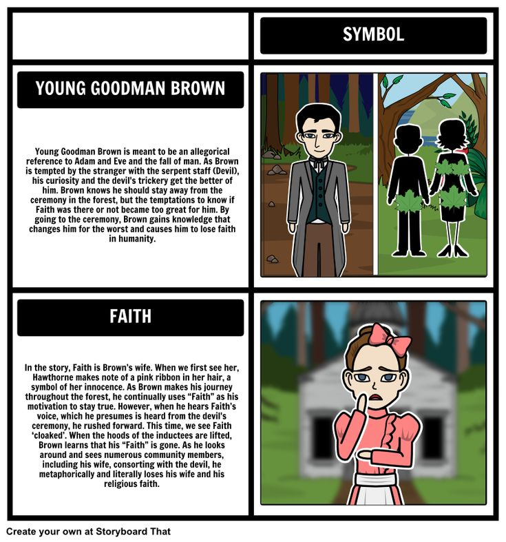 an overview of the symbolism in young goodman brown by nathaniel hawthorne Young goodman brown by nathaniel hawthorne lesson plan has interactive analysis with a summary, plot diagram, vocabulary, allegory & symbols with graphic organizers.