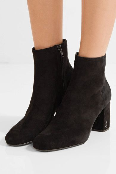 Saint Laurent - Babies Suede Ankle Boots - Black - IT