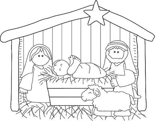 Christmas nativity colour-in page