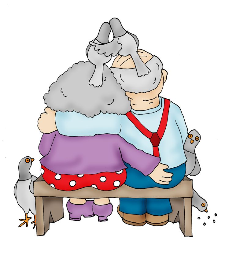 Gramps and Granny Feed the Pigeons... - Free Dearie Dolls Digi Stamps